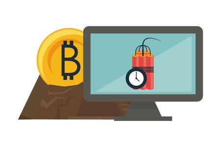 Bitcoin mining and investment computer and tnt detonator vector illustration graphic design Vettoriali
