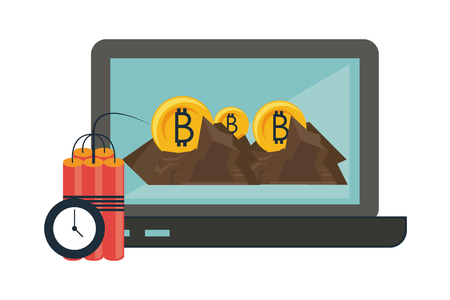 Bitcoin mining and investment laptop and tnt detonator vector illustration graphic design