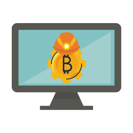 Bitcoin mining and investment gear and helmet on computer vector illustration graphic design