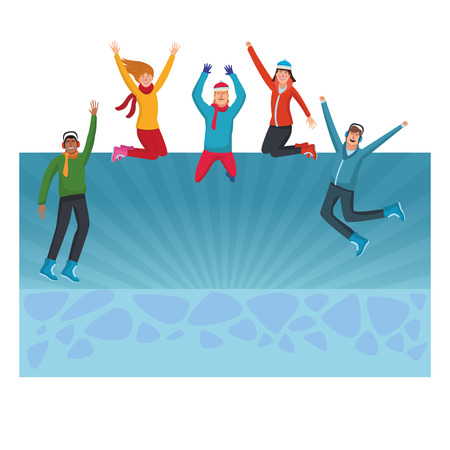 Happy people jumping in winter clothes  over blue background vector illustration graphic design Stock Illustratie