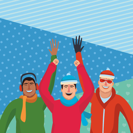 Happy friends in winter clothes over blue background vector illustration graphic design