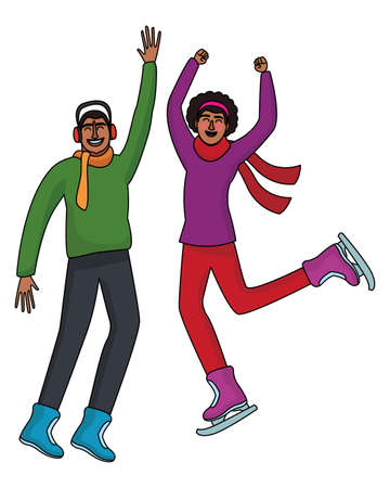 Happy people jumping in winter clothes  vector illustration graphic design