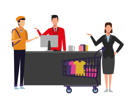 Businesswoman and young with shopping cart and clothes on cash register vector illustration graphic design