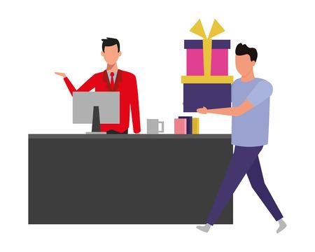 Homme tenant des coffrets cadeaux à la caisse enregistreuse vector illustration graphic design Vecteurs