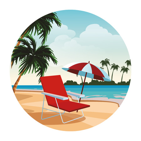 Beach and island with sunchair and umbrella scenery round icon vector illustration graphic design Ilustracje wektorowe