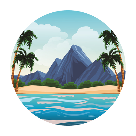 Beach and island with mountains scenery round icon vector illustration graphic design