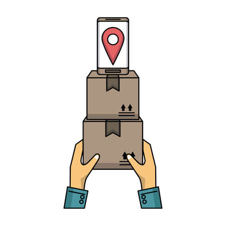 Delivery and logistics online from smartphone vector illustration graphic design