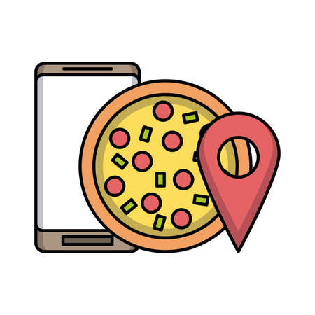 food online delivery pizza from smartphone vector illustration graphic design