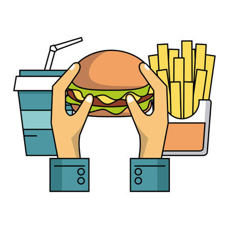 Fast food hamburger in combo with soda and fries vector illustration graphic design