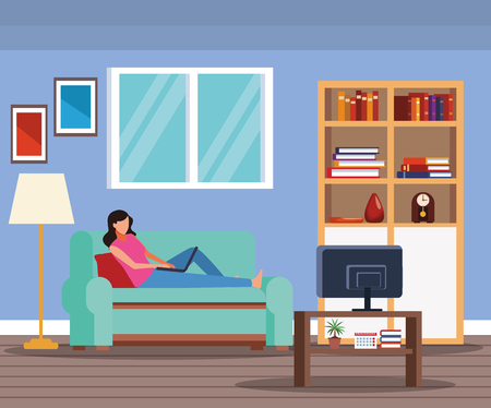 woman doing activities and free time at home vector illustration graphic design 向量圖像