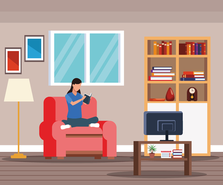 woman doing activities and free time at home vector illustration graphic design Illusztráció
