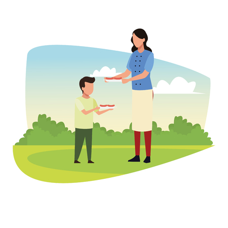 couple doing barbecue picnic avatar cartoons vector illustration graphic design Illustration
