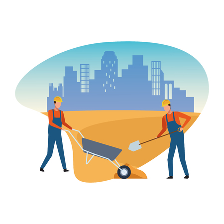 Construction workers avatar vector illustration graphic design