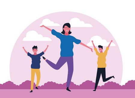 dancing people avatar trio with landscape vector illustration graphic design Illustration