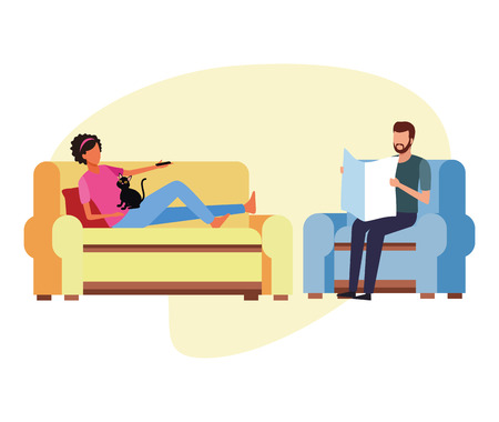 couple doing activities and free time at home vector illustration graphic design