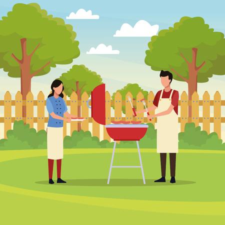 couple doing barbecue picnic avatar cartoons vector illustration graphic design Ilustrace