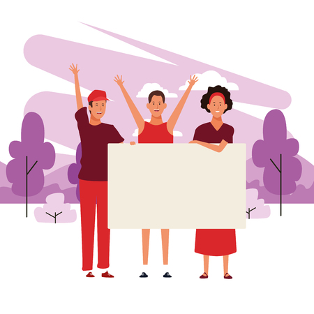people with posters trio with parkscape in brushprint vector illustration graphic design Illustration