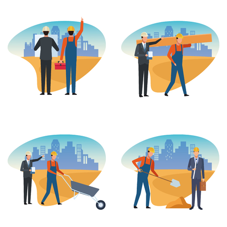 Construction set worker and architect vector illustration graphic design