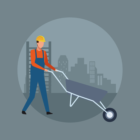 Construction worker avatar with wheelbarrow over cityscape round icon vector illustration graphic design