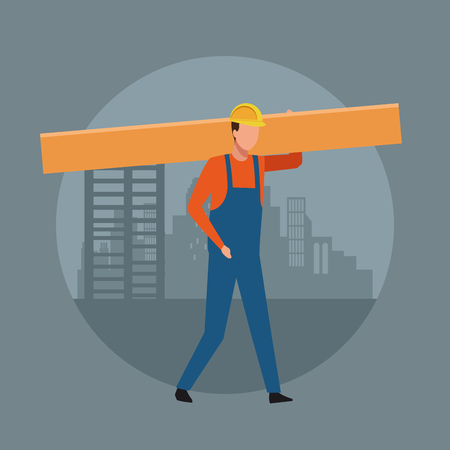 Construction worker avatar with wooden table over cityscape round icon vector illustration graphic design