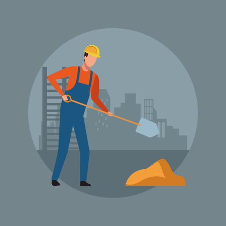 Construction worker avatar with shovel over cityscape round icon vector illustration graphic design Ilustração