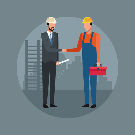 Construction worker and architect teamwork avatar vector illustration graphic design