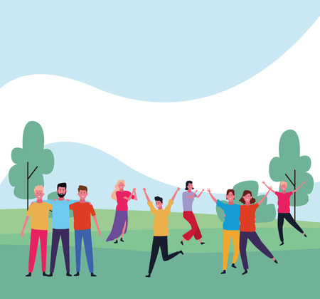 dancing people avatar group with parkscape vector illustration graphic design Banque d'images - 127631115