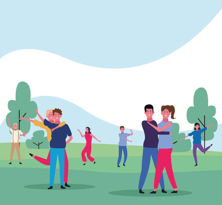 dancing people avatar group with parkscape vector illustration graphic design Vectores