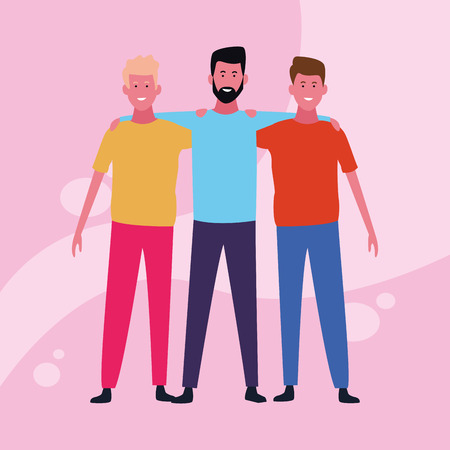 dancing people avatar only men with colorful background vector illustration graphic design Banque d'images - 127631118