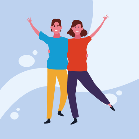 dancing couple avatar hugging with colorful background vector illustration graphic design Banque d'images - 127631119