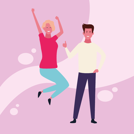 dancing couple avatar with colorful background vector illustration graphic design Banque d'images - 127631121