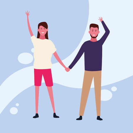 dancing couple avatar hands holding with colorful background vector illustration graphic design Banque d'images - 127631122