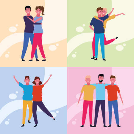 set of dancing people avatar with colorful background vector illustration graphic design