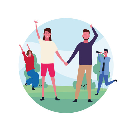 dancing couple avatar hands holding with round icon vector illustration graphic design Illustration