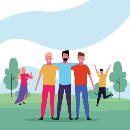 dancing people avatar only men with parkscape vector illustration graphic design 向量圖像