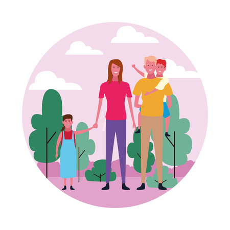 family group avatar with round icon parkscape vector illustration graphic design Vettoriali