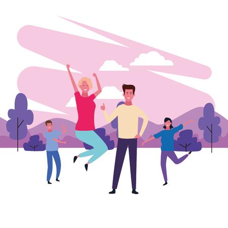 dancing couple avatar with parkscape brush paint vector illustration graphic design Banque d'images - 127631187