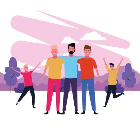 dancing people avatar only men with parkscape brushprint vector illustration graphic design Illustration