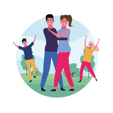 dancing couple avatar with round icon vector illustration graphic design