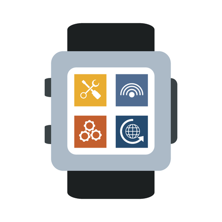 Smartwatch with apps isolated vector illustration graphic design