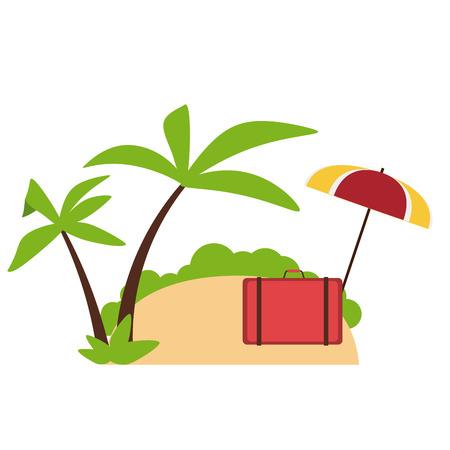 Travel and summer suitcase and umbrella on beach elements Ilustração