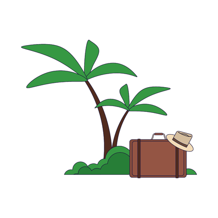 Beach and summer suitcase and hat vector illustration graphic design
