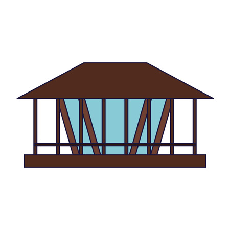 Beach kiosk wooden building vector illustration graphic design