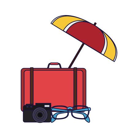 Travel and summer suitcase glasses and camera under beach umbrella elements vector illustration graphic design Illustration