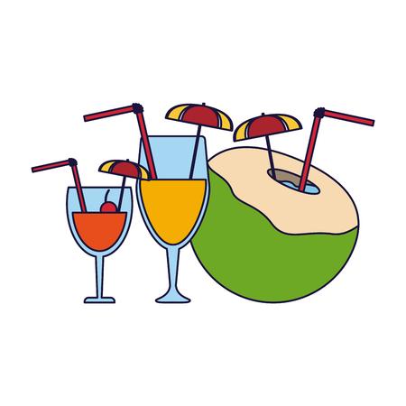 Set of summer coconut cocktails vector illustration graphic design