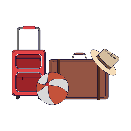 Travel and summer luggage beach ball and suitcase elements vector illustration graphic design Illustration