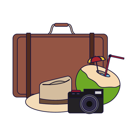 Travel and summer suitcase camera and hat with cocktail elements vector illustration graphic design