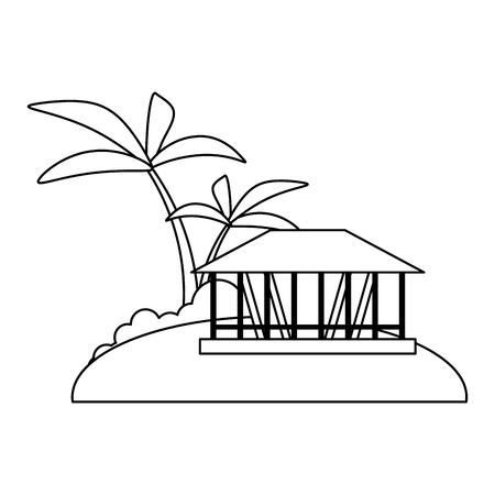 Beach and summer kiosk with palms vector illustration graphic design Illustration