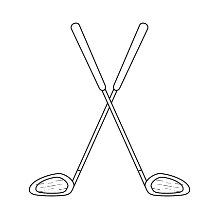 Golf clubs crossed symbol vector illustration graphic design
