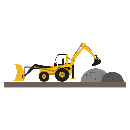 Backhoe and gravel on construction zone vector illustration graphic design